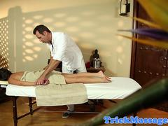 Massage babe facefucked by masseur until cum