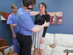 Brunette gets slapped and fingered during bdsm fun