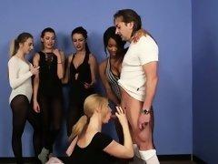 Cockhungry ballerinas sucking lucky guys cock