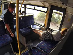 Sleepy babe woken and fucked hard in the bus