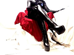 gloss over with thigh boots leather PVC
