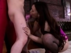 Bigboobed japanese femdom sucks and fucks sub