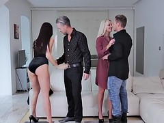 Two on two action, uncensored XXX foursome vids