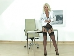 Hot Blonde Eager mom gives man a handjob