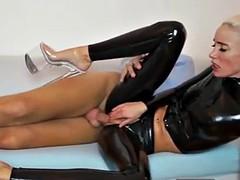slim russian slut fucked in her ripped latex