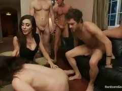 attractive brunette in real gangbang video