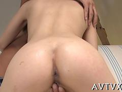 Japanese chick getting pounded doggy style on her feet
