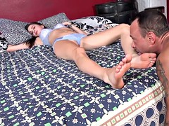 Vera Drake wakes up to somebody fucking her feet