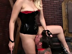 lusty blond mistress jenna ivory uses slave's tongue to polish her pussy and ass