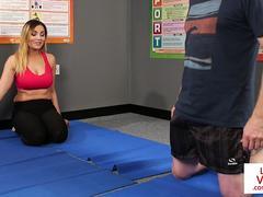 Busty voyeur humiliates her trainer