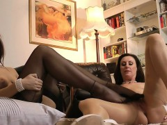 Hot stocking lesbos rub