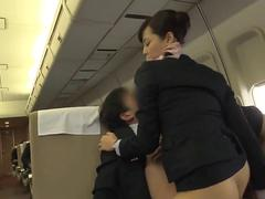 These hot babes ride an erect prick on the plane