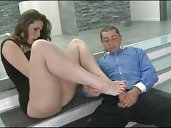 hot brunette footjob
