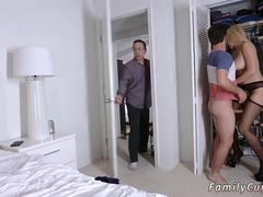 A blonde milf with huge pair of tits is getting nailed by a strapping stepson in bedroom