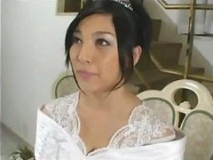 Amazingly-looking bride Saori Hara bangs her fiancee after wedding