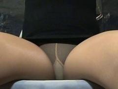 Crossdresser Erica Pantyhose Upskirt Legs