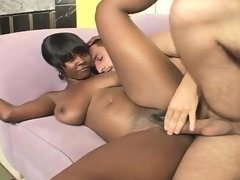 Black babe flaunts her sublime curves and gets banged by a white stud