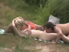 Naked Beach - Fledgling MMF Three-Way filmed by Voyeur