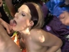 Hot blonde wife gangbanged by plenty of men