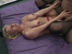 busty blonde mature fist fucked by three men