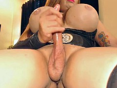 Busty tranny with a big cock pleasures on the cam