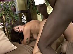 Black guy licks brunette's pussy before pounding her