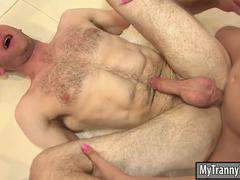 Lovely tranny Chanel Santini double anal with pervert dudes