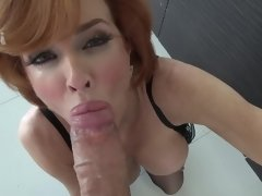 A redhead with a lovely ass is doing anal sex and fucking