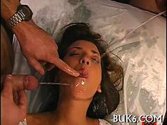 Whore loves to having warm jizz in her filthy mouth