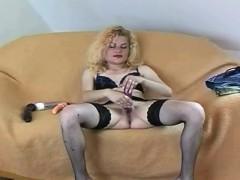 Blonde slut solo masturbating fingering dildo