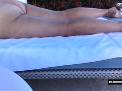 my mom sunbathes naked in our garden