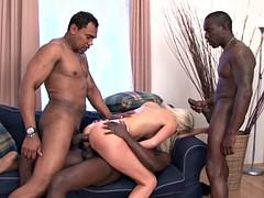 Five black bros shares hot blonde milf