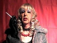 Grown-up transexual floozy smokes