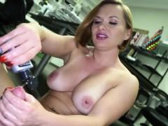 Busty office stepmom giving pov guy a handjob