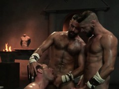 Muscle bear threesome with cumshot