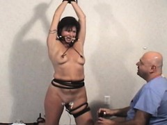 Bitch gets bounded and tormented by a beauty and a lad