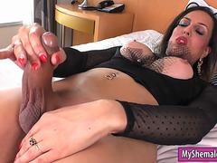 Huge titted tgirl dildoing her asshole and masturbates cock