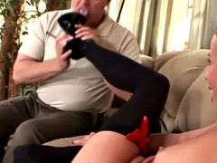 blonde gets feet licked while sucking