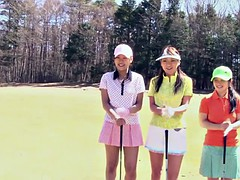 Three Asian babes play a game of strip golf
