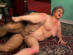 Short haired mature lady with big hooters orgasms on a throbbing cock