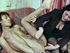 Dude moans with pleasure while brunette slut fucks him