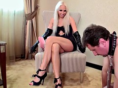 beg slave master and helps to discipline