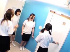 Teens peeing in toilet