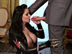 anastasia brill slides that fat cock into her mouth and between her huge tits