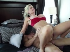 Blonde that loves taking on cock is sitting on a big one hard