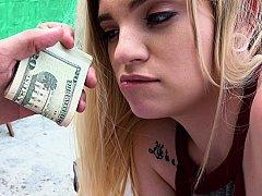 お金, アウトドア, ハメ撮り, 公共, オマンコ, ティーン