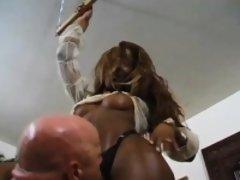Trans ebony gets a deepthroating blowjob