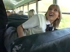 Blonde School Babe And furthermore Asian Dude In Bus