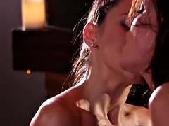 hot and round ass brunette lesbians getting naughty at home
