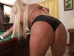 Blonde On Pool Table